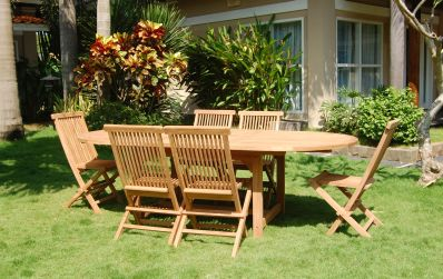 expandable teak table and chairs